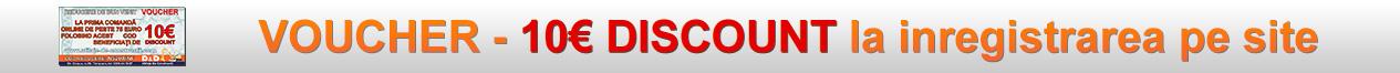 La inregistrarea unui cont de client pe site-ul nostru primiti un VOUCHER in valoare de 10€ REDUCERE valabil incepand cu prima comanda de minim 75€ efectuata online !